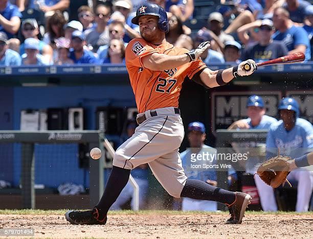 Kansas City Royals' rightfielder Justin Maxwell at bat during a Major League Baseball game between the Houston Astros and the Kansas City Royals at...
