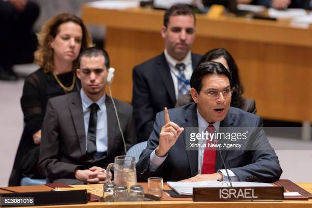 Danny Danon Permanent Representative of Israel to the United Nations addresses a Security Council open debate on the situation in the Middle East at...