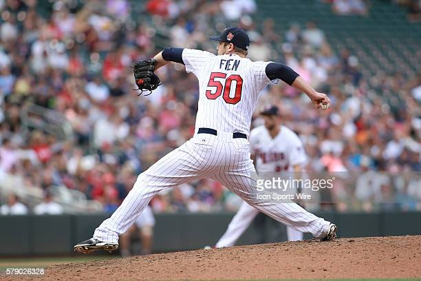 July 27 2014 Minnesota pitcher Casey Fien pitching during the eighth inning at the Minnesota Twins game versus Chicago White Sox at Target Field in...
