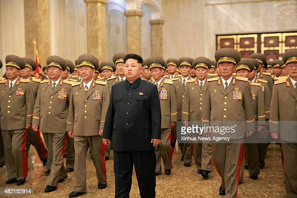 PYONGYANG July 27 2015 Photo provided by Korean Central News Agency on July 27 2015 shows top leader of the Democratic People's Republic of Korea Kim...