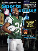 Football Portrait of New York Jets cornerback Darrelle Revis posing during photo shoot near Broadway in Duffy Square on Times Square Revis recreates...