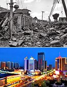 TANGSHAN July 27 2016 Combined photo shows a file photo up of Tangshan after the deadly quake in 1976 and a photo taken on May 17 2016 showing the...