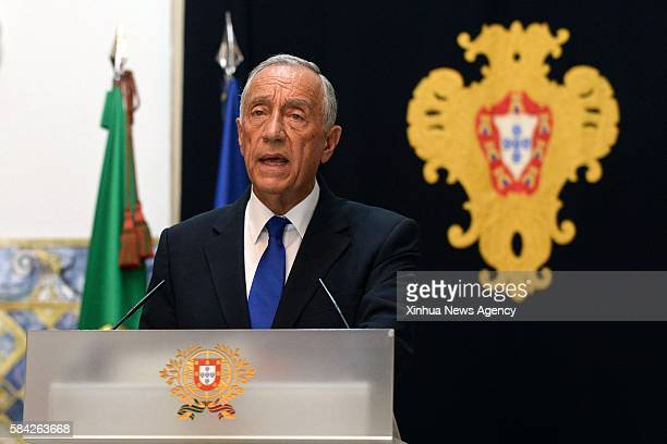 LISBON July 27 2016 Portuguese President Marcelo Rebelo de Sousa delivers a speech at the Palace of Belem in Lisbon Portugal July 27 2016 The...