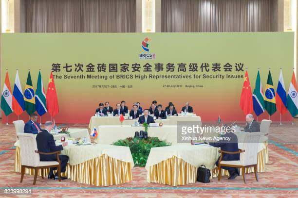 BEIJING July 28 2017 Chinese State Councilor Yang Jiechi presides over the seventh meeting of BRICS High Representatives for Security Issues in...
