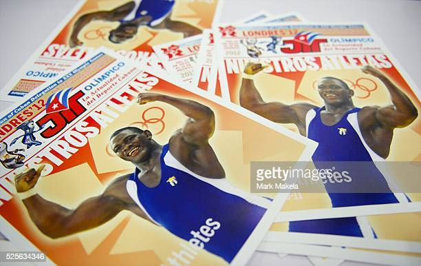 July 29 2012 London England United Kingdom The Cuban publication 'Nuestro Atletas' is displayed at the ExCel London Exhibition Centre on the third...