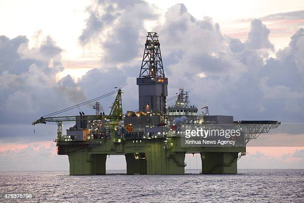 BEIJING July 3 2015 Photo taken on June 13 2015 shows the Xingwang deepsea semisubmersible drilling platform at Liwan32 gasfield in the South China...