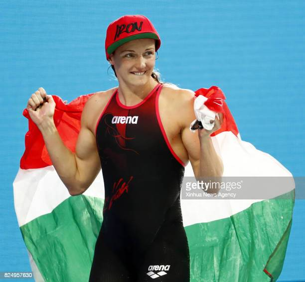 BUDAPEST July 31 2017 Katinka Hosszu of Hungary celebrates after winning women's 400m medley swimming final at the 17th FINA World Championships held...