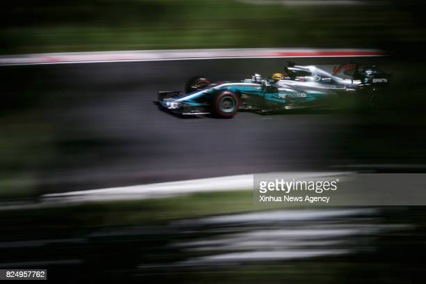 MOGYOROD July 31 2017 Mercedes AMG Petronas' British driver Lewis Hamilton competes during the Hungarian F1 Grand Prix race at Hungaroring in...