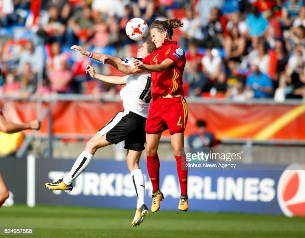 TILBURG July 31 2017 Nina Burger of Austia heads the ball with Irene Paredes of Spain during the UEFA Women's EURO 2017 soccer tournament...