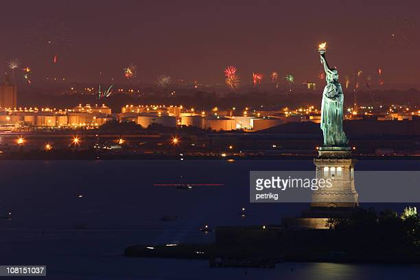 July 4th Fireworks, New York, Statue of Liberty