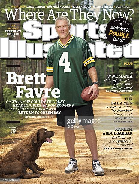 July 6 2015 July 13 2015 Sports Illustrated Cover Portrait of former Green Bay Packers QB Brett Favre with his dog Sam during photo shoot on his 465...