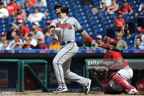Atlanta Braves Infield Brandon Snyder [5641] at the plate during a Major League Baseball game between the Atlanta Braves and the Philadelphia...