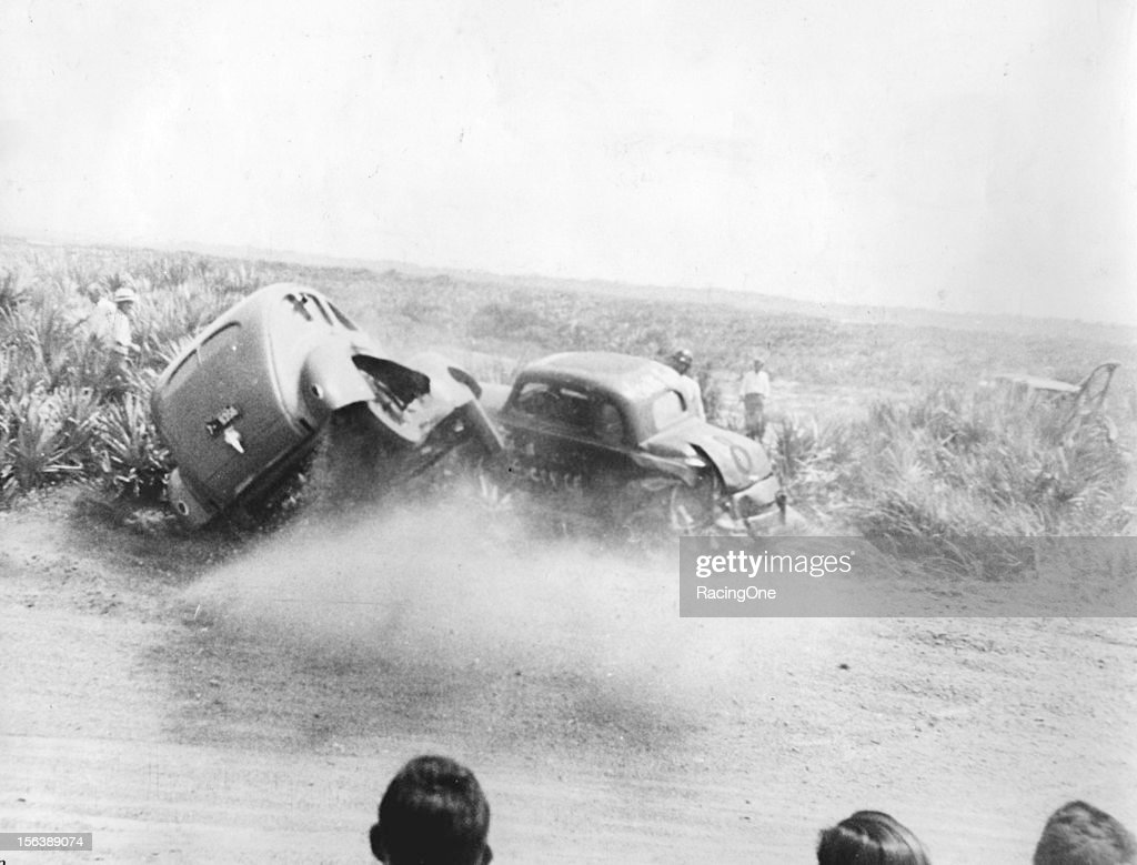 — July 7 1940 This pair of stock cars ended up in the palmetto bushes during a race on the Daytona BeachRoad Course Car No 8 was driven by Pat Davis...
