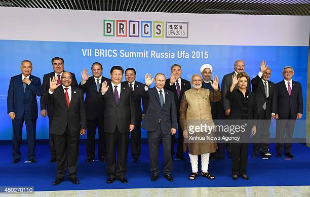 UFA July 9 2015 Chinese President Xi Jinping poses for photos with leaders of the Shanghai Cooperation Organization members and observers the...