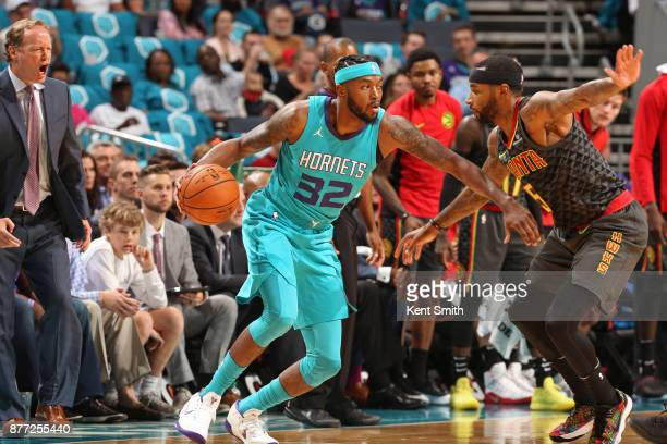 Julyan Stone of the Charlotte Hornets handles the ball against the Atlanta Hawks on October 20 2017 at Spectrum Center in Charlotte North Carolina...