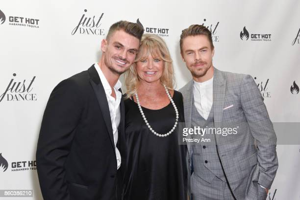 Julz Tocker Goldie Hawn and Derek Hough attend grand opening event for JustDance LA at Just Dance Los Angeles on October 11 2017 in Studio City...