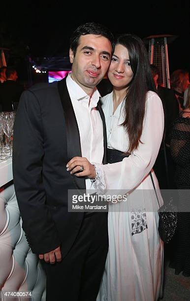 Juma Ahmad Zada and wife Gyunel Rustamova attend the De Grisogono Divine In Cannes Dinner Party at Hotel du CapEdenRoc on May 19 2015 in Cap...