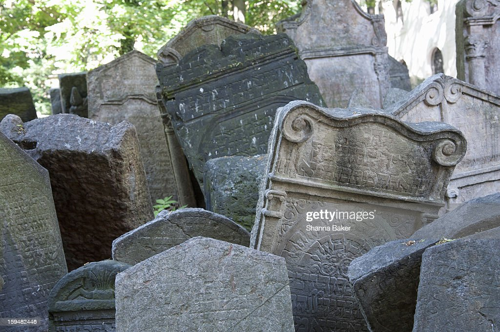 A jumble of headstones at an old cemetery, Prague : Stock Photo