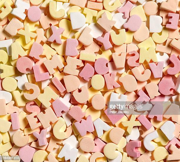 Jumbled sweets depicting dyslexia