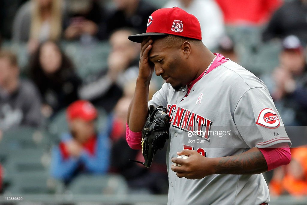 Jumbo Diaz #70 of the Cincinnati Reds reacts after throwing a wild pitch against the Chicago White Sox during the eighth inningon May 10, 2015 at U.S. Cellular Field in Chicago, Illinois. The Chicago White Sox won 4-3.