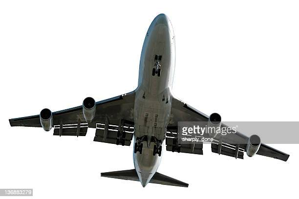 XL jumbo jet airplane landing on white background