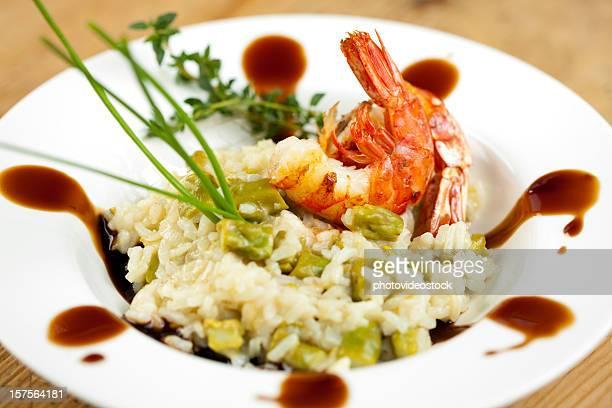 Jumbo Garnelen und Spargel-risotto