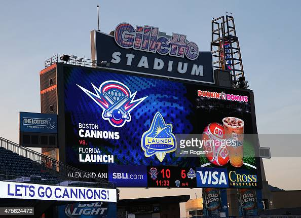 A jumbotron is seen during a game between the Boston Cannons and the Florida Launch at Gillette Stadium on May 30 2015 in Foxboro Massachusetts