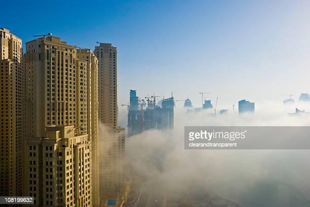 Jumeirah Beach Residence in Dubai Marina with Fog