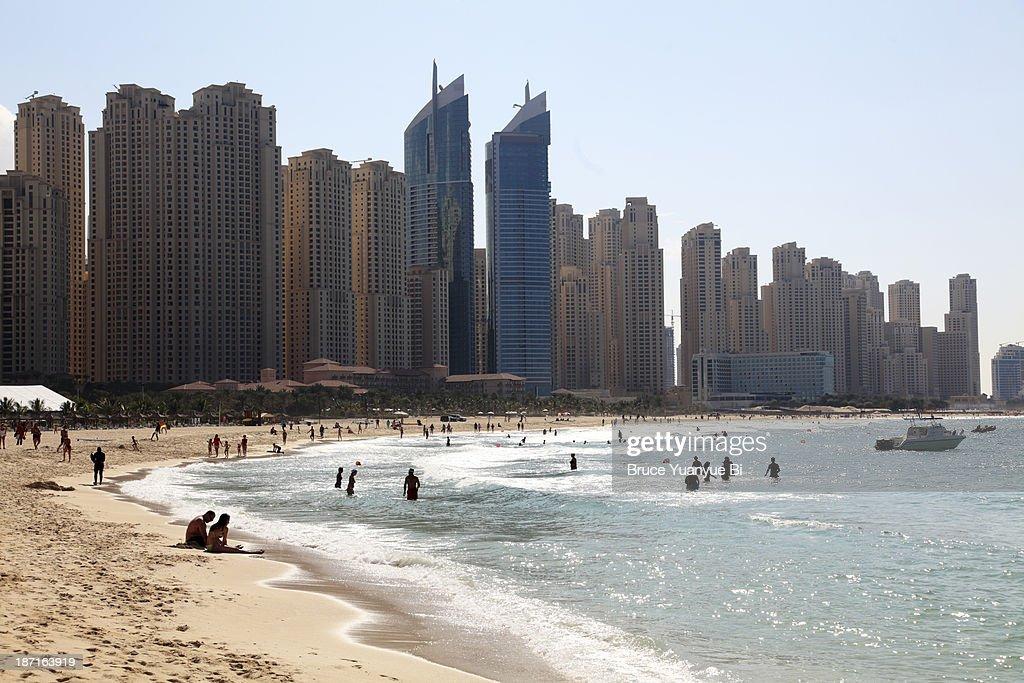Jumeirah Beach with high rise buildings : Stock Photo