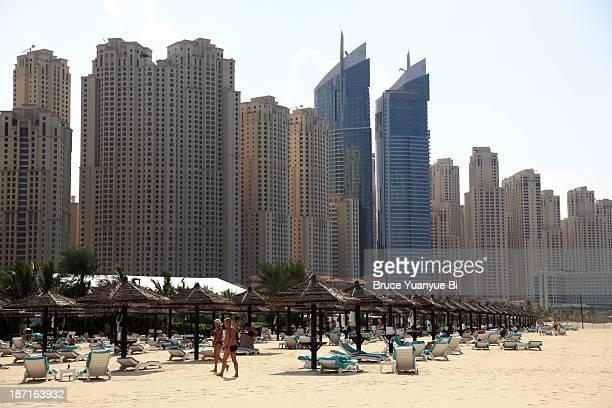 Jumeirah Beach with high rise buildings