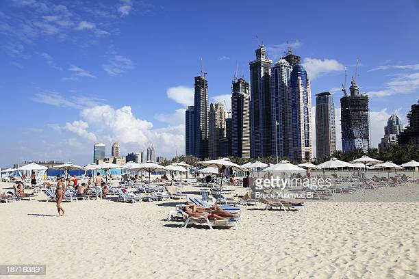 Jumeirah Beach with sunbathers