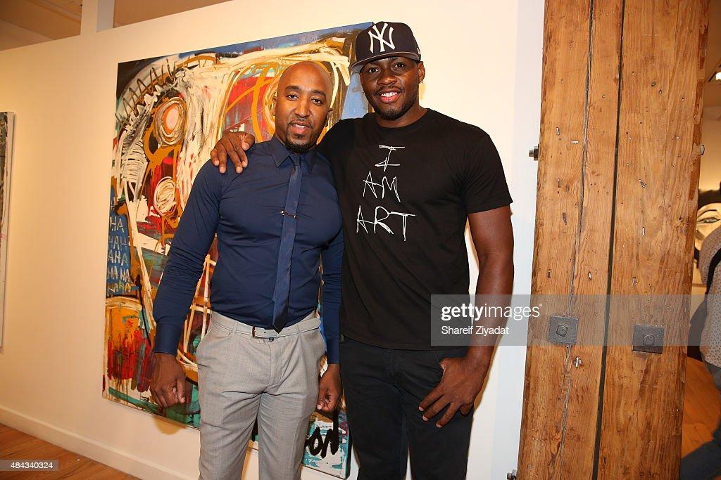 Jumoke Mendez and Desmond Mason at Joseph Gross Gallery on August 15 2015 in New York City