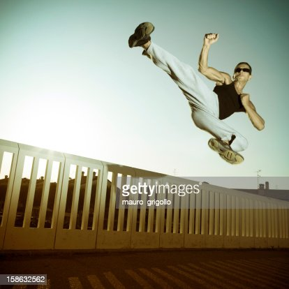 Jump fight man : Stock Photo