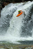 Jump from the waterfall in Norway, Ula river.