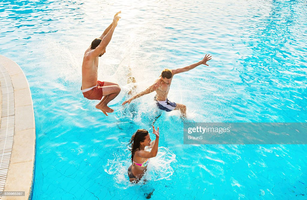 Jump into the swimming pool. : Stock Photo