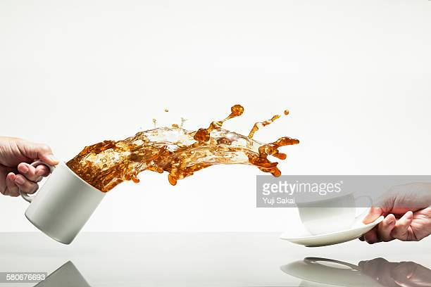jump out and receive coffee cup