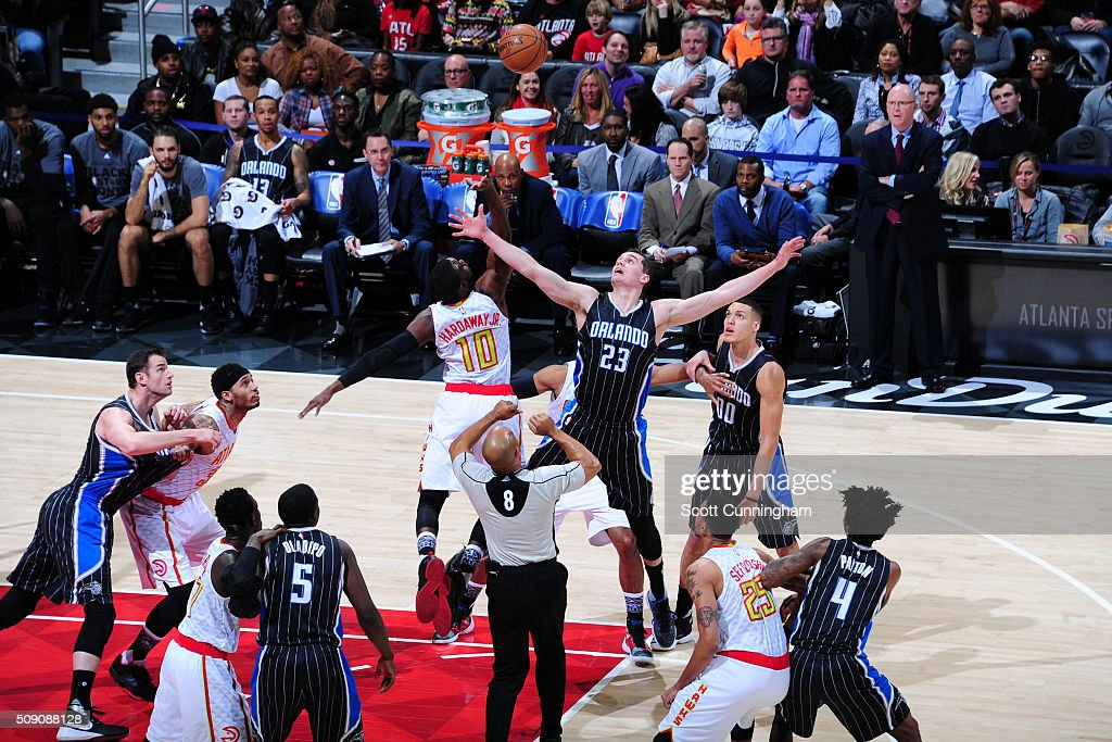 A jumpball between the Orlando Magic and the Atlanta Hawks on February 8, 2016 at Philips Arena in Atlanta, Georgia.