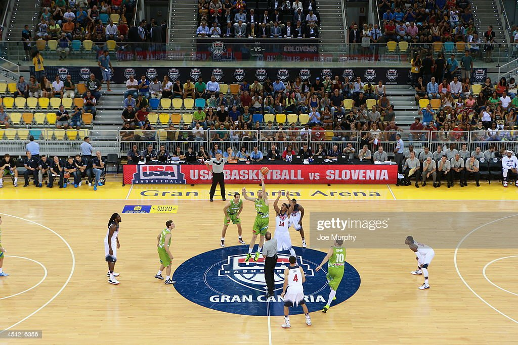 A jumpball between the USA Basketball Men's National Team against the Slovenia Basketball Men's National Team on August 26, 2014 at Gran Canaria Arena in Las Palmas, Gran Canaria, Spain.