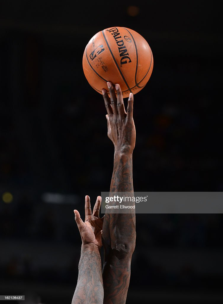 A jumpball during the game against the Denver Nuggets and the Utah Jazz on January 5, 2013 at the Pepsi Center in Denver, Colorado.