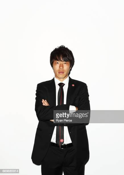 Jumpei Kusukami of the Wanderers arrives ahead of the Western Sydney Wanderers Medal Night at the International Convention Centre on April 18 2017 in...