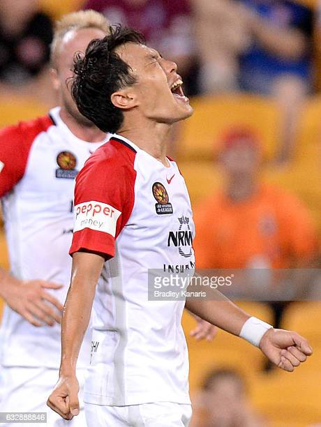 Jumpei Kusukami of the Wanderers celebrates scoring a goal during the round 17 ALeague match between the Brisbane Roar and the Western Sydney...