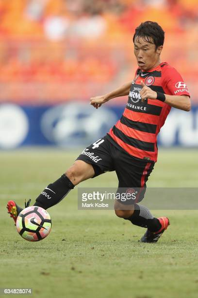 Jumpei Kusukami of the Wanderers passes during the round 19 ALeague match between the Western Sydney Wanderers and the Central Coast mariners at...