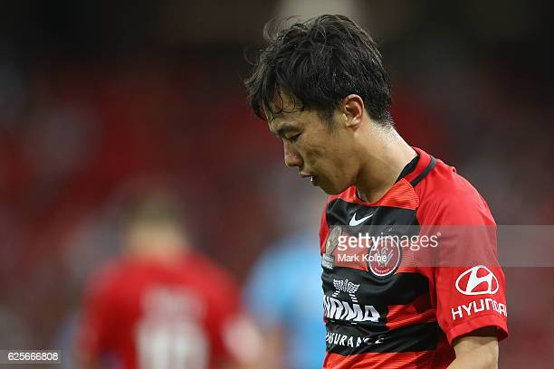 Jumpei Kusukami of the Wanderers shows his frustration during the round eight ALeague match between the Western Sydney Wanderers and the Brisbane...