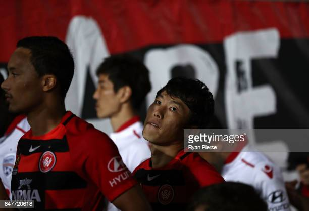 Jumpei Kusukami of the Wanderers walk out onto the pitch during the round 22 ALeague match between the Western Sydney Wanderers and Adelaide United...