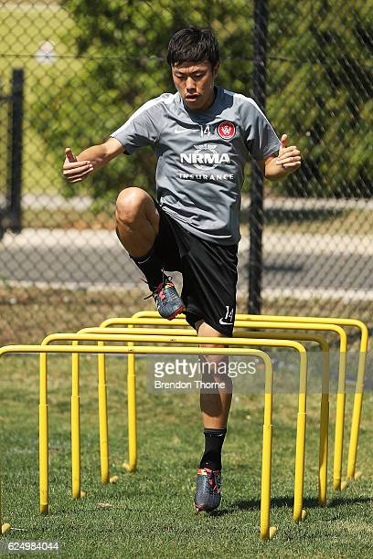 Jumpei Kusukami of the Wanderers warms up during a Western Sydney Wanderers ALeague training session at Blacktown International Sportspark on...