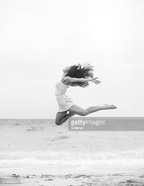 Jumping at the beach