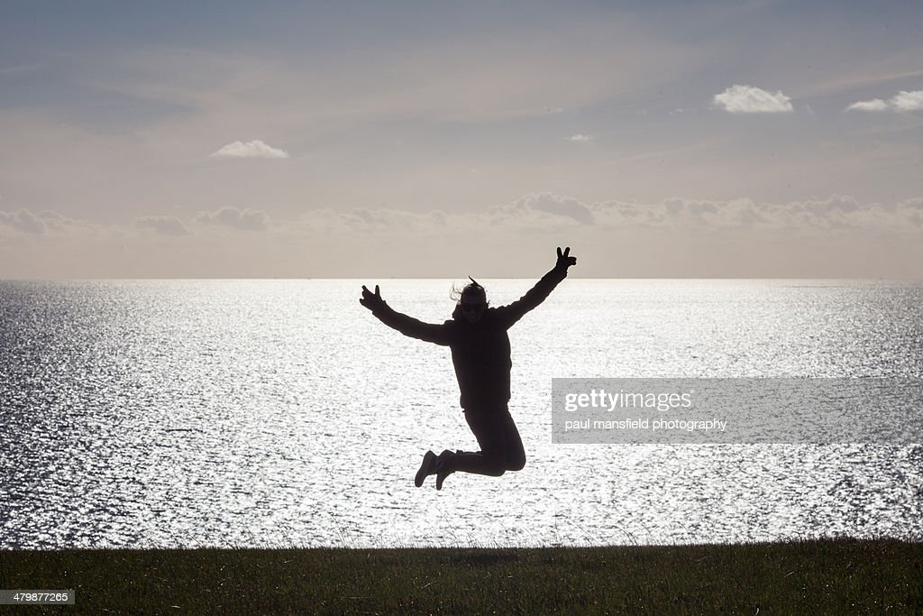 Jumping for joy : Stock Photo
