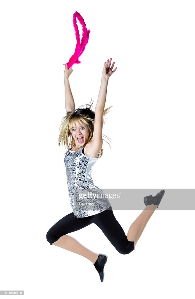 Jumping Girl on White Background : Stock Photo