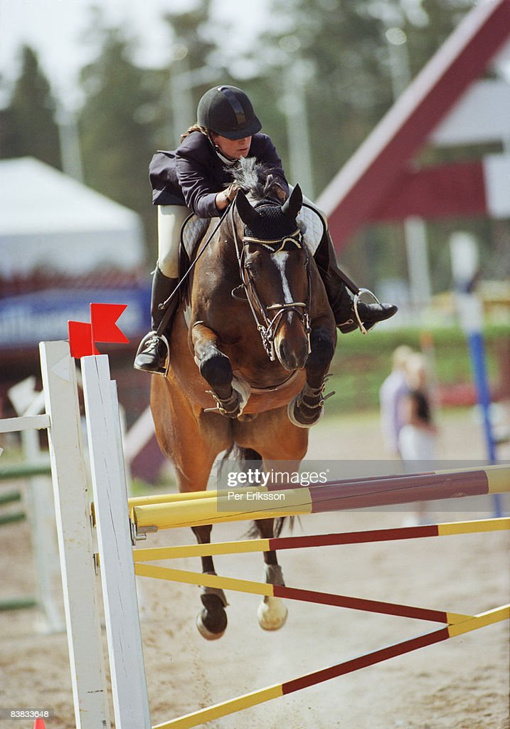 A jumping hoarse during a competition Sweden.