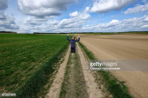 Jumping in field